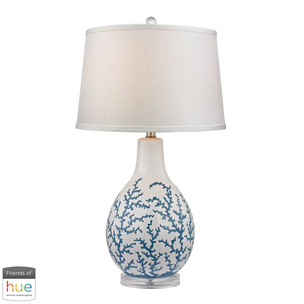 Elk Lighting D2619-LED Hammered Glass LED Table Lamp in Blue with Pure White Linen Shade